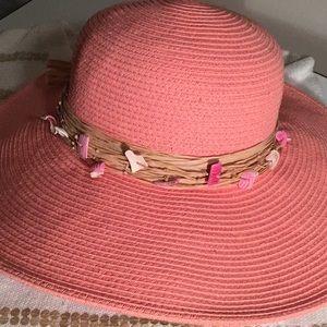 Peach Sun Hat w Shells